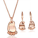 Gorgeous Feet 18K Gold Jewelry Set With Rhinestone Including Earring,Necklace (More Colors)