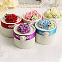 Round Favor Boxes With Flower And Pearl - Set of 12 (More Colors)