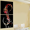 "12 ""-24"" Modern Style Wine Theme Wall Clock i Canvas 2pcs"