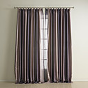 (Two Panels) Color Shade Stripe Print Polyester Room Darkening Curtain Set