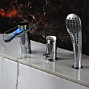 Chrome Finish Single Handle LED Waterfall Glass Bathroom Sink Faucet With Hand Shower