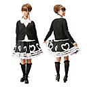 Long Sleeve Knielanger Wei und Schwarz Cotton Casual Lolita Outfit