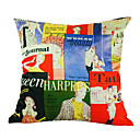 English Magazine Silk Decorative Pillow Cover