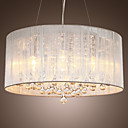Modern Crystal Pendant Light in Cylinder Shade