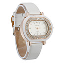 Charming Women's PU Quartz Movement Glass Oval with Rhinestone Dress Watch(More Color)