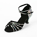 Women's Satin / Rhinestone Upper Ankle Strap Latin / Salsa Dance Shoes With Buckle