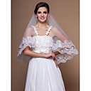 1 Layer Elbow Wedding Veils With Lace Applique/Finished Edge (More Colors)