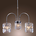Contemporary Crystal Chandelier with 3 lights (Chrome Finish)