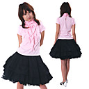 Short Sleeve Knee-length Pink and Black Cotton Sweet Lolita Outfit
