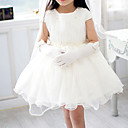 A-line Short Sleeve Mini length Tulle &amp; Chiffon Flower Girl Dress With Pearls