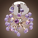 6-light Floral Shape K9 Crystal Ceiling Light-Purple (0942-98004-C-6P)