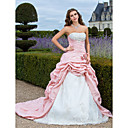 Ball Gown Strapless Court Train Taffeta Organza Evening Dress