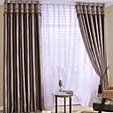 (Two Panels) Brown Stripe Jacquard Room Darkening Curtains