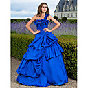 Ball Gown One Shoulder Floor-length Taffeta Evening Dress With Pick Up Skirt And Flower(s)