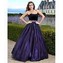 A-line Strapless Floor-length Tulle Evening Dress With Feathers/fur