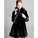 Long Sleeve Shawl Collar Mink Fur Evening/Career Coat