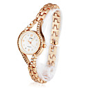 Gorgeous Women's Alloy Quartz Movement Glass with Crystal Round Shape Dress Watch