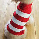 Stripe Pattern Turndown Collar Style Sweater for Dogs Cats (Red,XS-M)