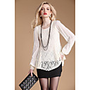 AYIASHA Embroidery Lace Splicing Chiffon Long Sleeve Shirt