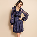 TS VINTAGE Jacquard Chiffon Stitching Velvet Long Sleeve Dress
