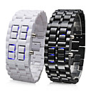Pair of Faceless Blue LED Style Wrist Watches (Black and White)