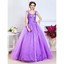 Ball Gown Scoop Floor-length Taffeta And Tulle Evening Dress