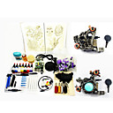 2 Hand-made Tattoo Machine Guns Kit with Transparent Power Supply