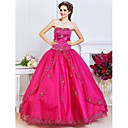 Ball Gown Strapless Floor-length Satin And Tulle Evening Dress With Beading And Crystal Brooch