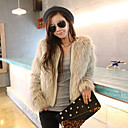 Nice Long Sleeve Collarless Faux Fur Casual/Party Jacket