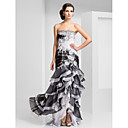 Trumpet/Mermaid Strapless Floor-length Organza Evening Dress With Beading And Tiers