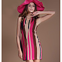 AYIASHA Sexy V Neck Vertical Stripe Contrast Color Tie Dress