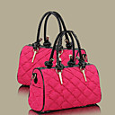 Women's PU Leather Down Contrast Color Vintage Tote/Crossbody Bag