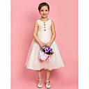 Una linea di principessa gioiello tè lunghezza Tulle Flower Girl Dress