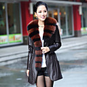 Elegant Long Sleeve Fox Fur Shawl Collar Lambskin Leather Casual/Party Coat (More Colors)