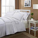 White Embroidery 400TC Twin / Queen / King 3-Piece Duvet Cover Set