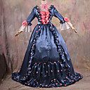 Long Sleeve Floor-length Ink Blue and Pink Satin Gothic Lolita Dress