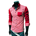 Men's Cheap Organic Cotton Long Sleeve Chequer Print Shirt(Assorted Colors And Sizes)