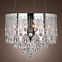 Stainless Steel 5-Light Pendant Light with Luxury Crystal Drops