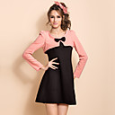 TS Contrast Color Two Piece Like Long Sleeve Dress