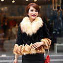 Half Sleeve Fox Fur Collar an Bottom Hem Evening Rex Rabbit Fur Jacket