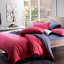 Morden Red/Grey Solid Flannel Full / Queen / King 4-Piece Duvet Cover Set