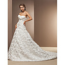 Ball Gown Sweetheart Cathedral Train Taffeta Wedding Dress