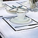 Set Of 4 Black Line White Placemats
