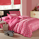 4PCS Modern Big White Dots Pink Velvet Full Duvet Cover Set