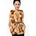 Collarless Red Fox Fur Casual/Party Vest