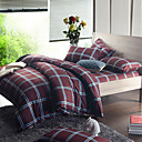 Morden Brown Check Flannel Full / Queen / King 4-Piece Duvet Cover Set