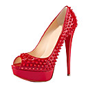 Patent Leather Stiletto Heel Peep Toe Pumps With Rivet Party / Evening Shoes