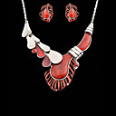 Women's Gorgeous Red Crystal Earrings and Necklace Set