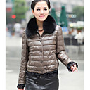 Long Sleeve Fox Fur Turndown Collar Lambskin Leather Casual/Office Jacket (More Colors)