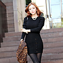 Women's Bodycon Knitted Dress with Button Detail